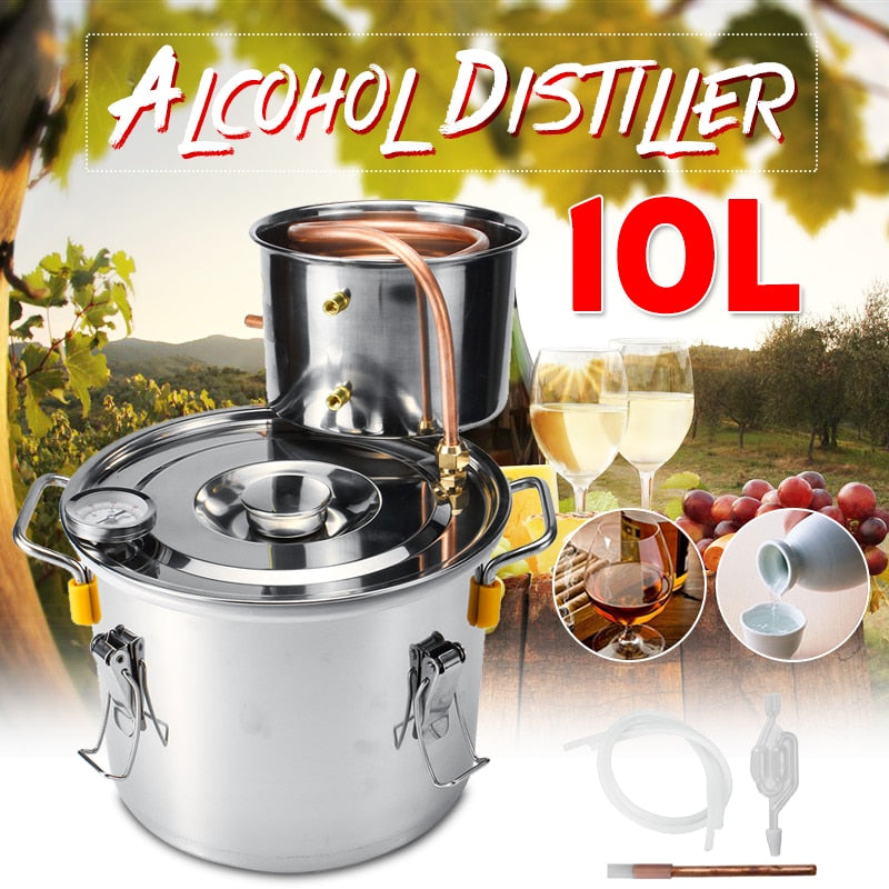 8/10/12/22/35L Durable Home DIY Distiller Moonshine Alcohol Stainless Copper Alcohol Whisky Water Wine Essential Oil Brewing Kit