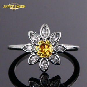 Jewepisode Charms Flower Citrine Gemstone Ring Solid 925 Sterling Silver Wedding Bands Fine Jewelry Women Finger Rings Wholesale