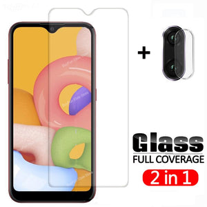 2 in 1 Tempered Glass On For Samsung Galaxy A01 Camera Lens Screen Protector Glas For Samsung A015 A 01 Protective Glass Film