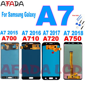 AAA+ A7 LCD Screen For Samsung Galaxy A7 2015 2016 2017 2018 A700 A710 A720 A750 LCD Display Touch Screen Digitizer Replacement