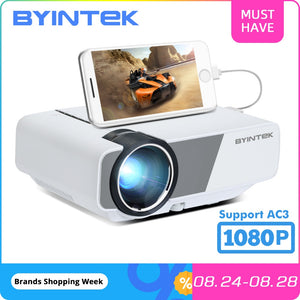 BYINTEK Mini Projector K1plus, Portable Home Theater Beamer,LED Proyector for Smartphone 1080P 3D 4K Cinema Stock in Brazil