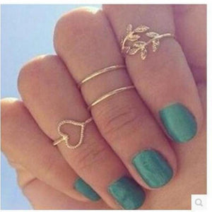 New Style Small leaves four Ring Love Circle Beautiful Classic  Rings Women 4 PCS /lot