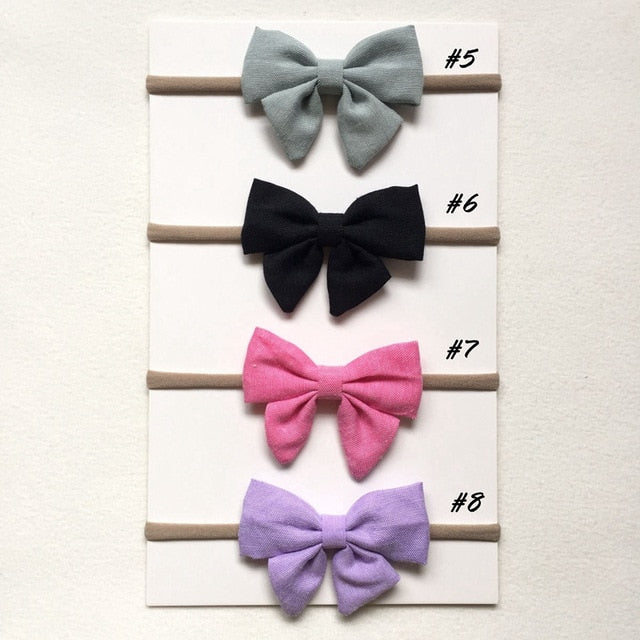 4 Pcs/lot High Quality Handmade solid Nylon Headband Bow