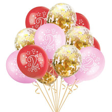 Load image into Gallery viewer, 15pcs 12 Inch Happy 2 years old Birthday Blue Pink Gold Rose Latex Confetti for Kids Birthday Party Cartoon Hat Kids Gifts