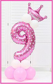 baby party hat set Blue Pink Number Balloon 1/2/3/4/5/6T Kids children