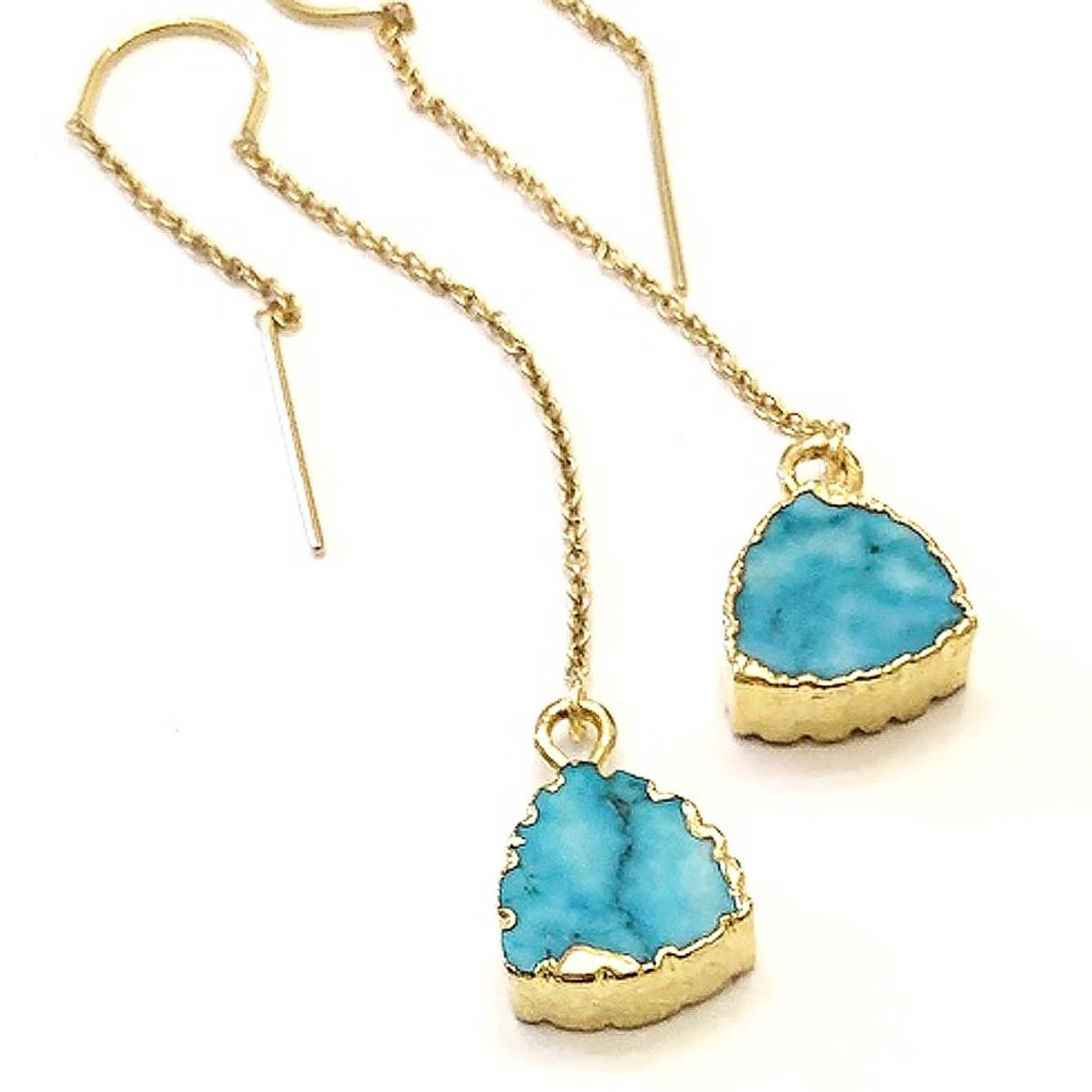2Dy4: Turquoise Trillion Threader Earrings
