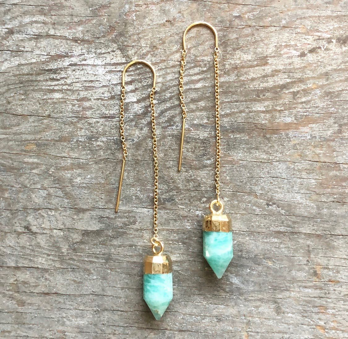 2Dy4: Amazonite & Gold Filled Threader Earrings