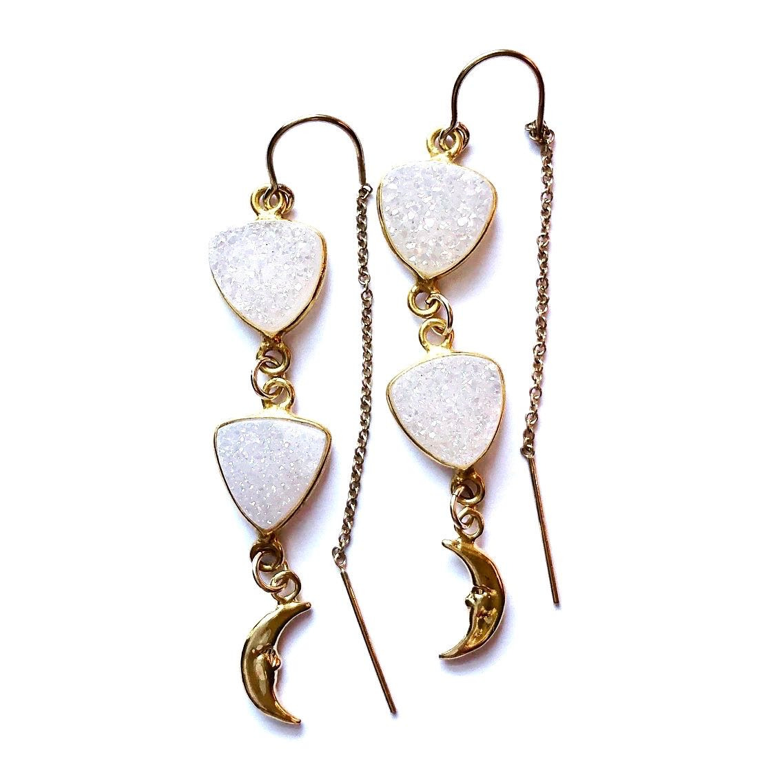 2Dy4: Druzy Crystal, Moons & Gold Filled Threader Earrings