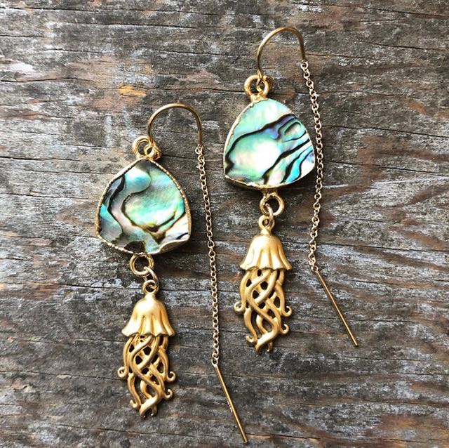 2Dy4: Abalone & Gold Vermeil Jellyfish  Earrings