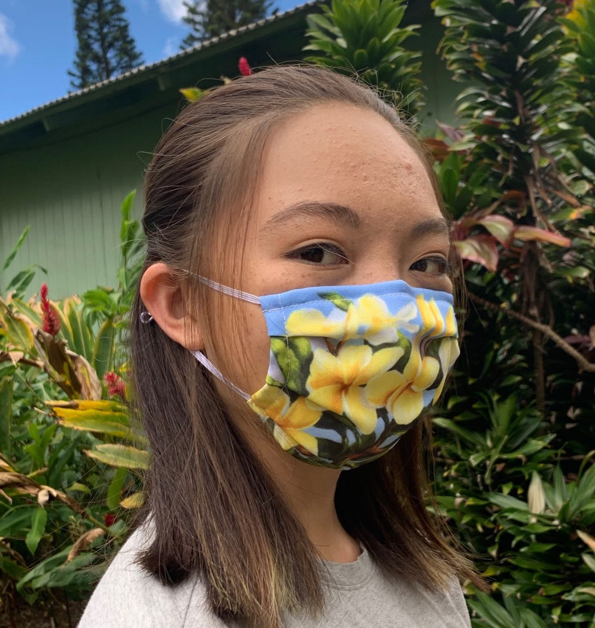 Yellow Plumeria Face Mask