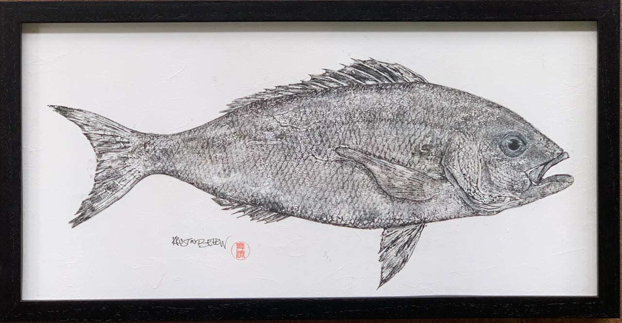 "Deep Hawaii Art: ""Lucky"" The Opakapaka (Pink Snapper) Gyotaku"