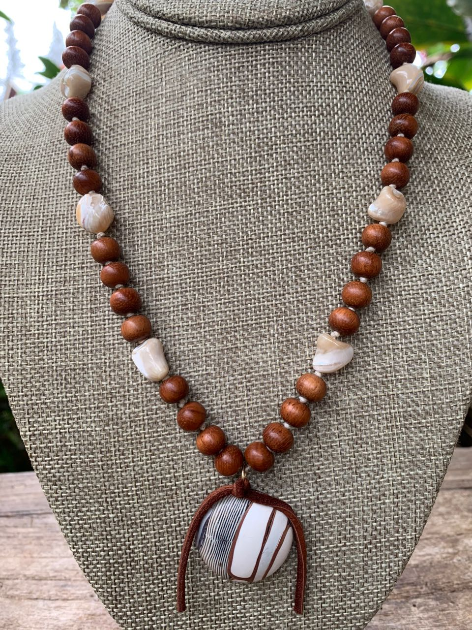 Denise Macaulay: Bayong Wood & Shell Necklace