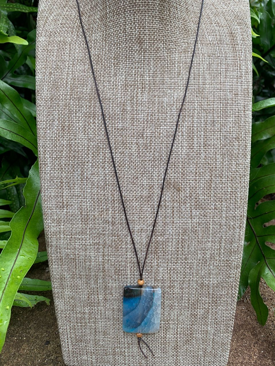 2Dy4: Blue Agate & Leather Cord Necklace
