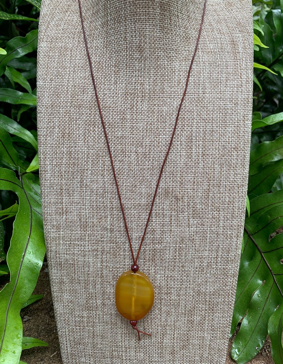 2Dy4: Yellow Agate & Leather Cord Necklace