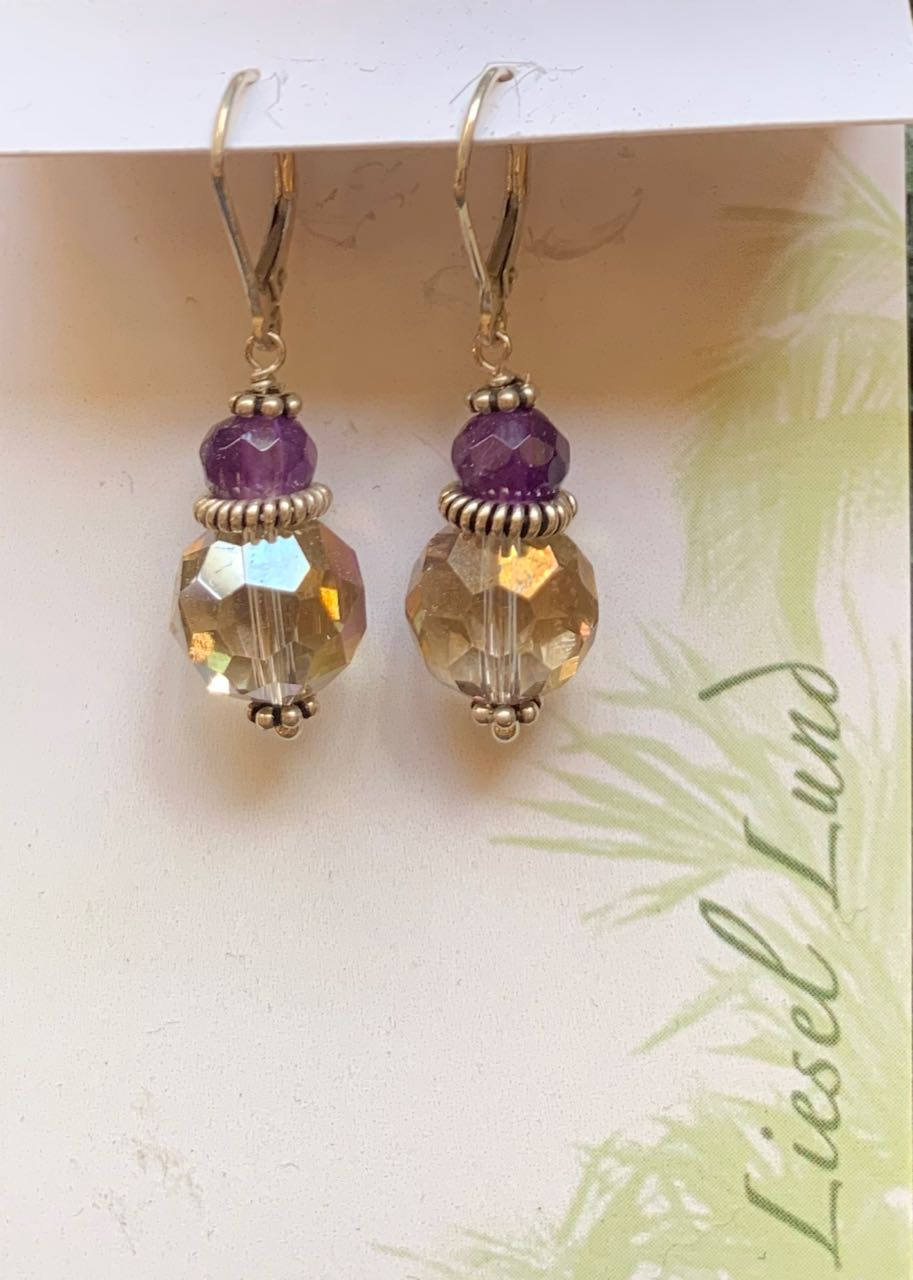Liesel Lund: Amethyst, Smoky Quartz & Sterling Silver Earrings