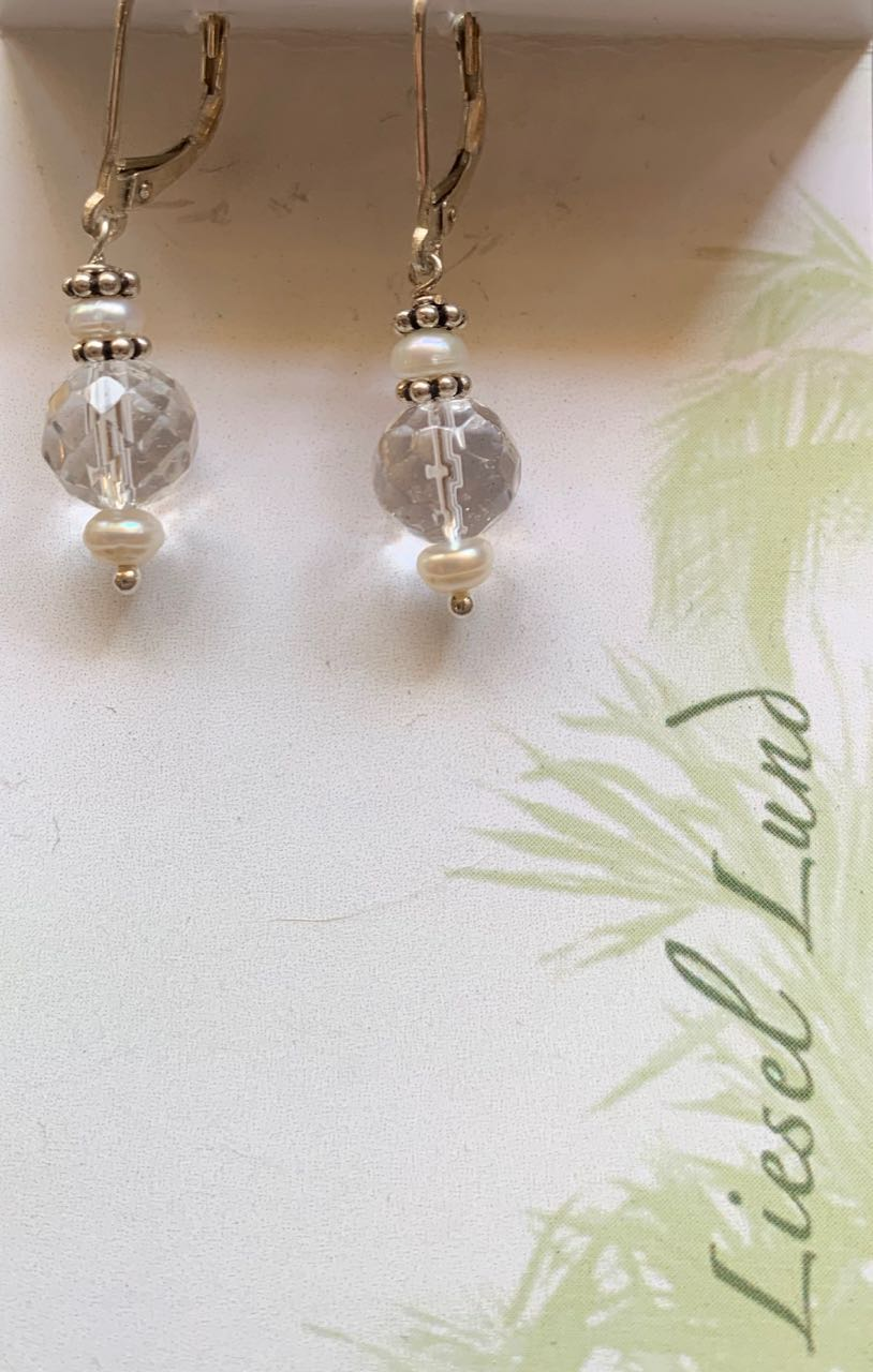 Liesel Lund: Pearl, Crystal Quartz & Sterling Silver Earrings