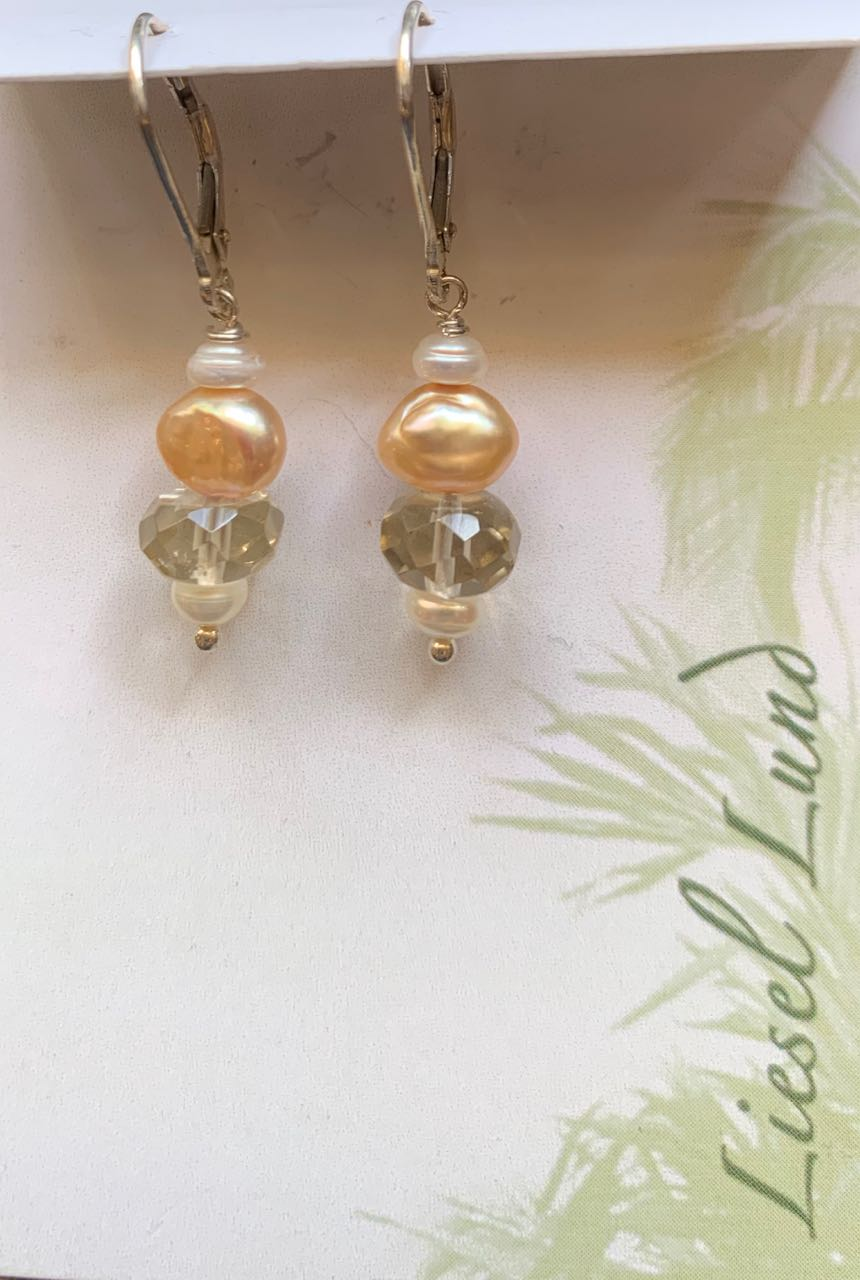 Liesel Lund: Lemon Quartz, Pearl & Sterling Silver Earrings