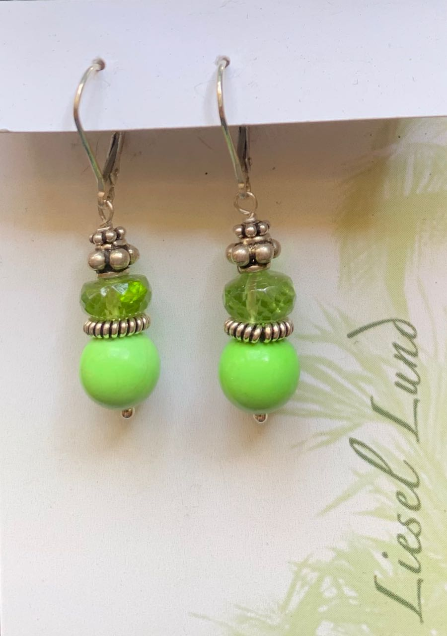 Liesel Lund: Peridot, Howlite & Sterling Silver Earrings