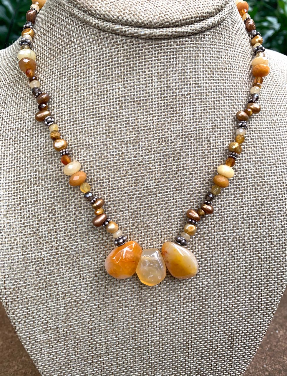 Liesel Lund: Pearl, Smoky Quartz, Carnelian, Yellow Jade & Sterling Silver Necklace