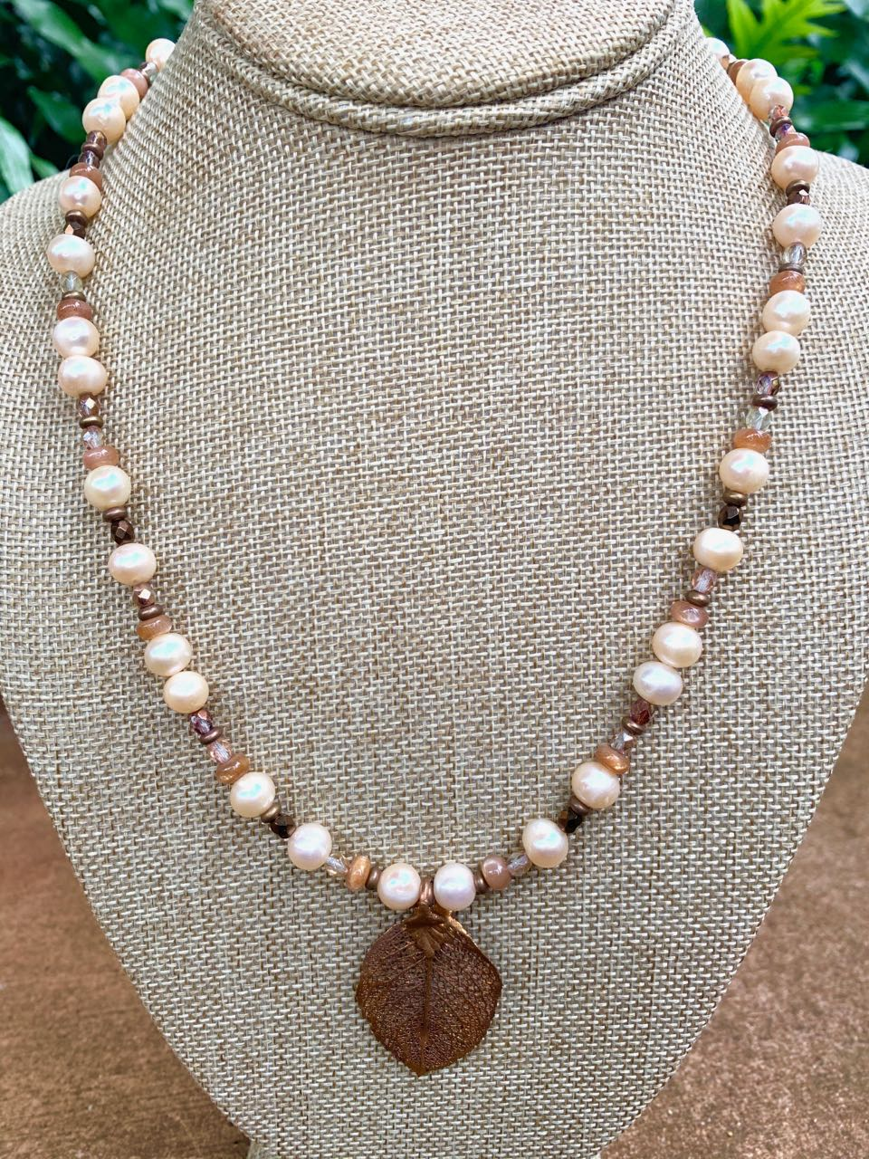 Liesel Lund: Pearl, Sunstone, Copper, Crystal & Gold Findings Necklace