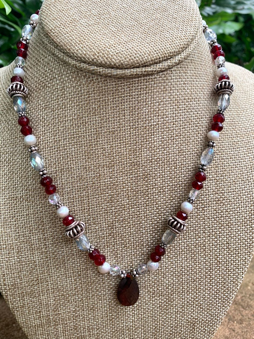 Liesel Lund: Red Quartz, Pearl, Crystal Quartz & Sterling Silver Necklace