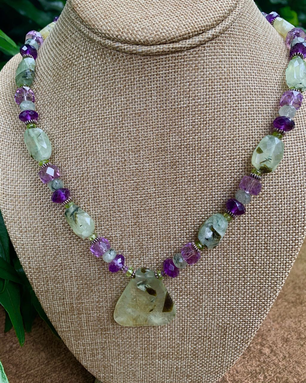 Liesel Lund: Green Tourmaline, Amethyst, Peridot & Sterling Silver Necklace