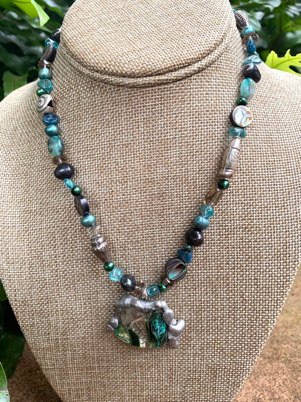 Liesel Lund: Abalone, Smoky Quartz, Pearl, Apatite, Dichroic Glass & Sterling Silver Necklace