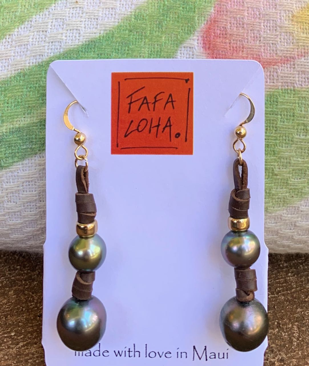 "Fafaloha: Tahitian Pearl ""Aina"" Earrings"
