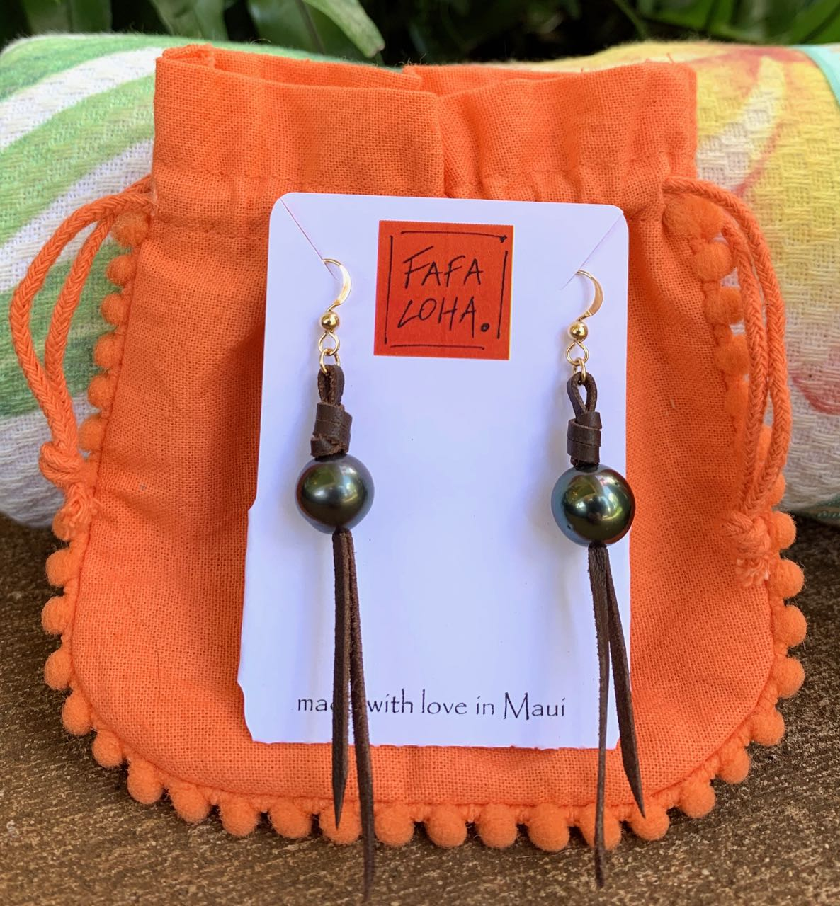 "Fafaloha: Tahitian Pearl ""Mauka"" Earrings"