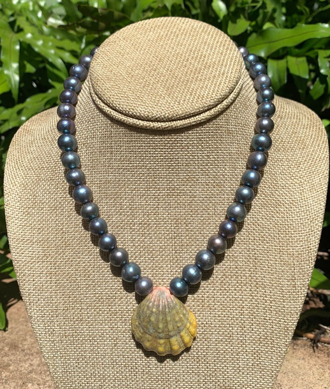Malia Preza: Moonrise Shell and Peacock Freshwater Pearl Necklace