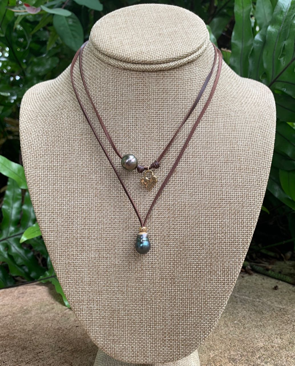 Fafaloha: Hana Tahitian Pearl, Heart & Leather Necklace