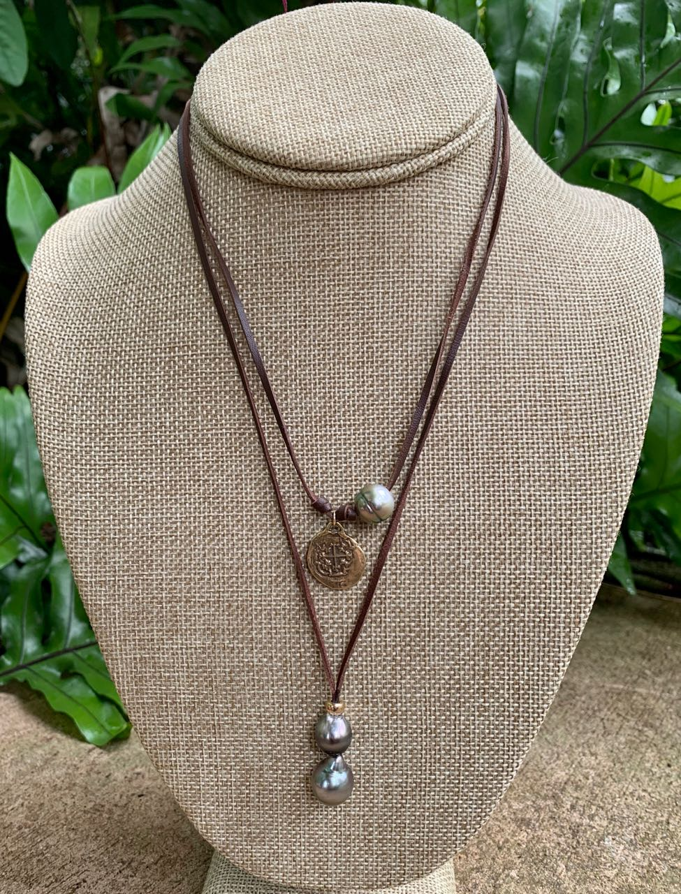 Fafaloha: Hana Necklace with Four Tahitian Pearls & Ancient Coin