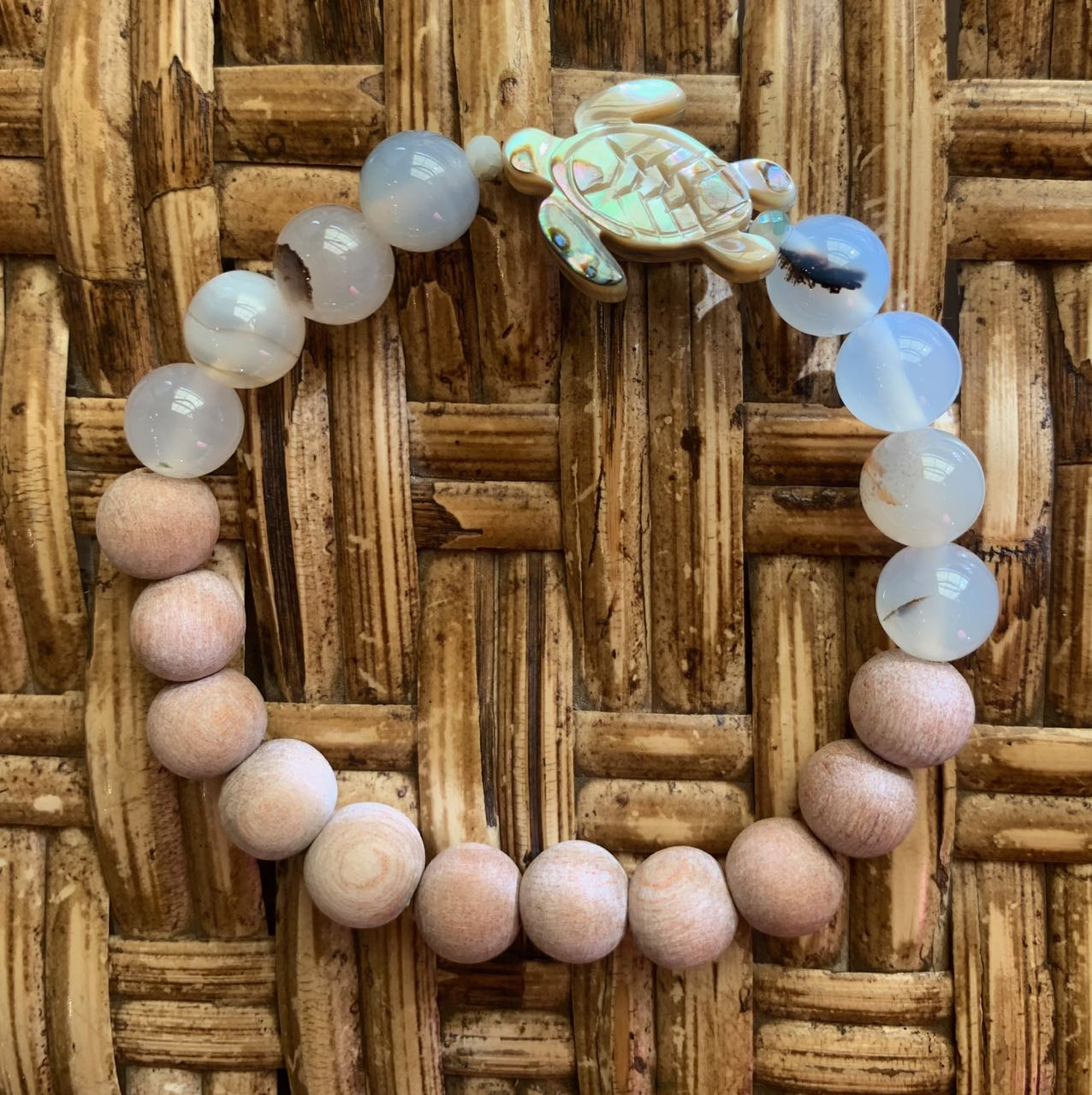 2Dy4: Flower Agate, Rosewood & Abalone Turtle Bracelet