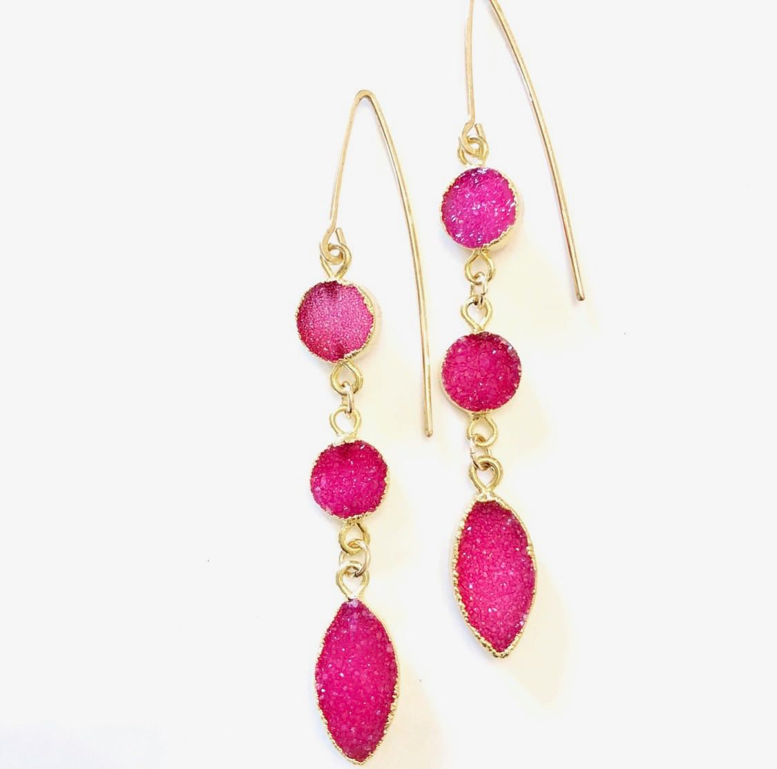 2Dy4: Fuschia Druzy  Crystal & 14K Gold-filled Earrings