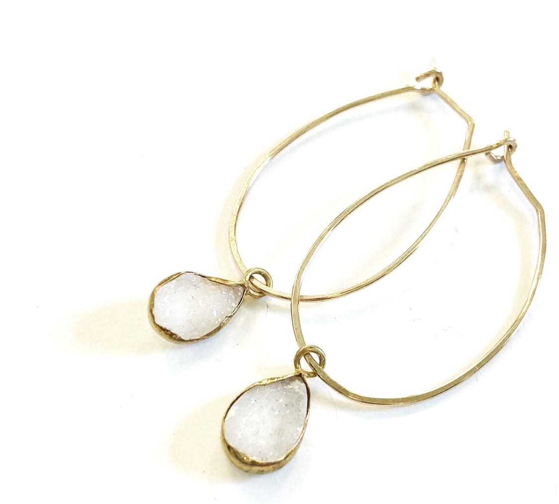 Dy4: White Crystal Druzy Earrings