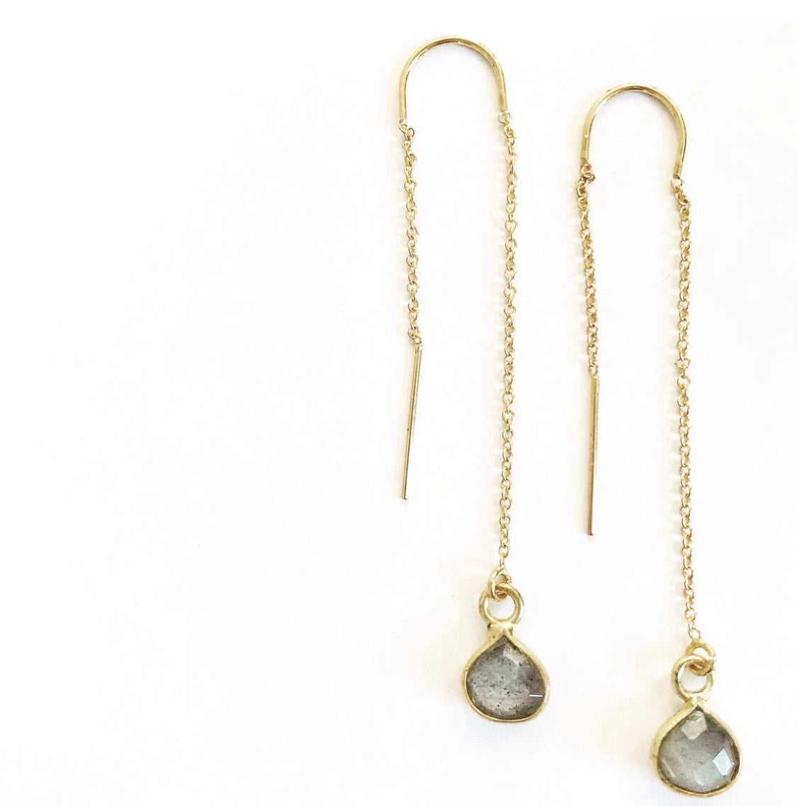 Dy4: Tiny Labradorite Teardrop Earrings