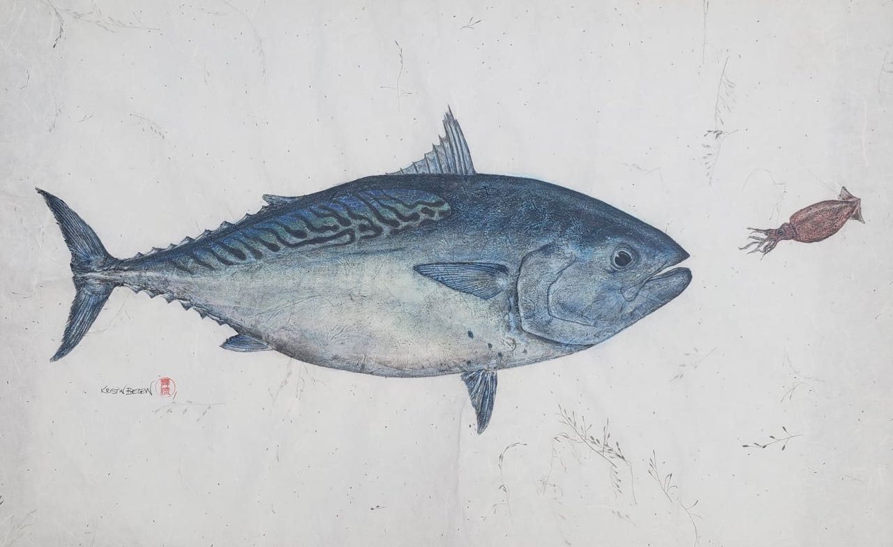 "Deep Hawaii Art: ""Timothy Goes to the Disco"" Mackerel Tuna Gyotaku"