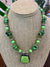 Liesel Lund: Green Turquoise, Peridot, Serpentine, Howlite, Fused Glass & Sterling Silver Necklace
