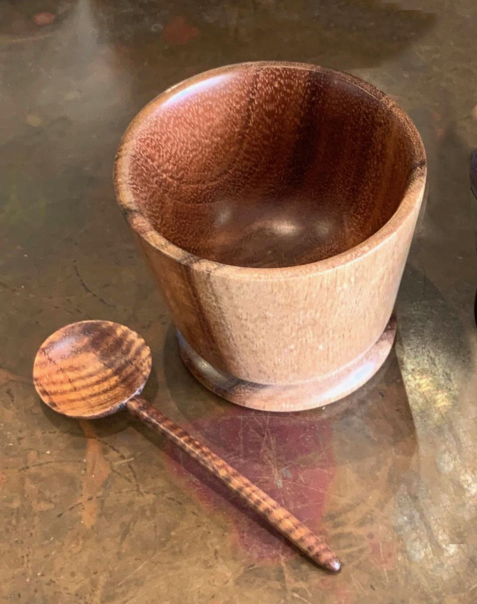 Vince Cabanilla: Koa Wood Sugar/Salt Bowl with Spoon