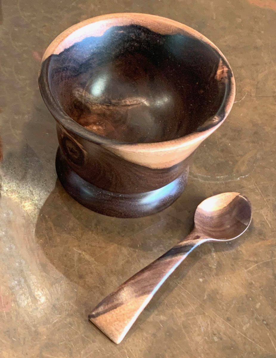 Vince Cabanilla: Milo Wood Sugar/Salt Bowl with Spoon