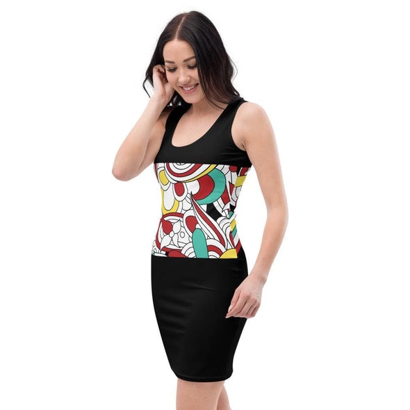 Abstract Design on Black Fitted Dress - Dresses