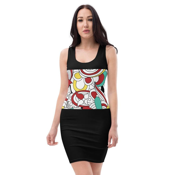 Abstract Design on Black Fitted Dress - XS - Dresses