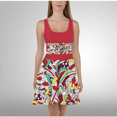 Abstract Design on Red Skater Dress - Dresses