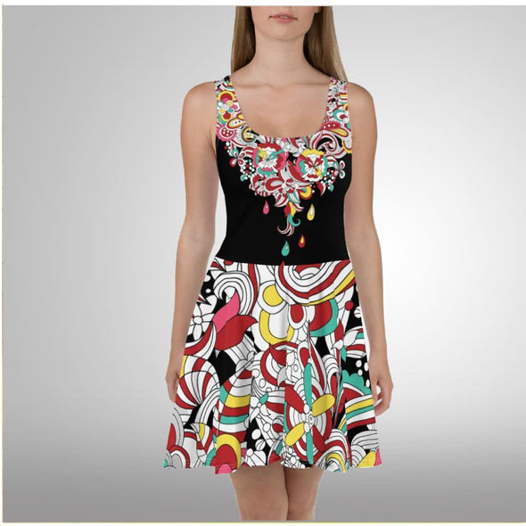 Abstract Raindrop Design on Black Dress - Dresses
