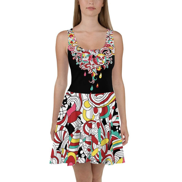Abstract Raindrop Design on Black Dress - XS - Dresses