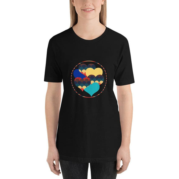 Beautiful Hearts Design on T-Shirt - Ref 003 - Black / S -