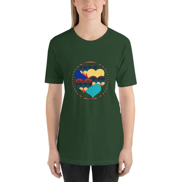 Beautiful Hearts Design on T-Shirt - Ref 003 - Forest / S -