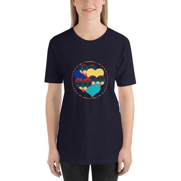 Beautiful Hearts Design on T-Shirt - Ref 003 - Navy / S -