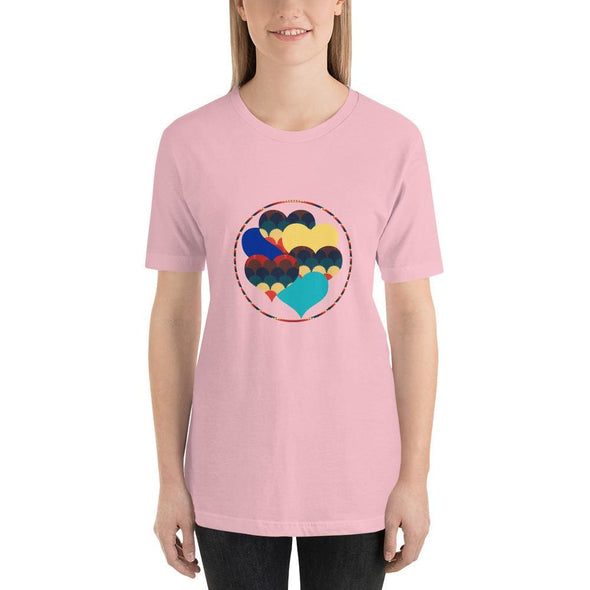 Beautiful Hearts Design on T-Shirt - Ref 003 - Pink / S -
