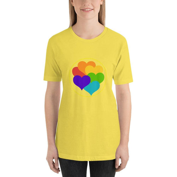 Beautiful Hearts Design on T-Shirt - Ref 003 - Yellow / S -